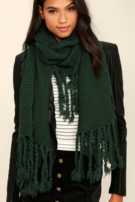 Destination Toasty Dark Green Knit Scarf
