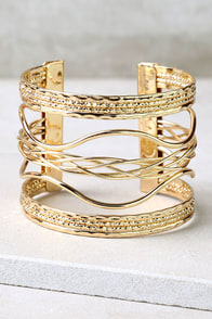 Swirl Power Gold Cuff Bracelet