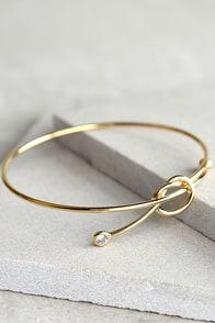 Knot So Fast Gold Rhinestone Bracelet
