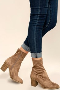 Opt In Taupe Suede High Heel Mid-Calf Boots