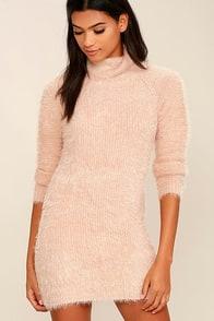 Mink Pink Soft Serve Blush Pink Sweater Dress