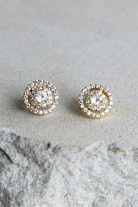 Sure to Stun Gold Rhinestone Earrings