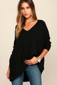 Ticket to Cozy Black Oversized Sweater