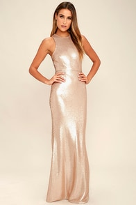 Notorious Matte Rose Gold Sequin Maxi Dress