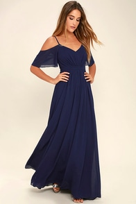Beautiful Navy Blue Dress - Maxi Dress - Homecoming Dress - $68.00