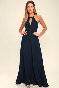 Beauty and Grace Navy Blue Maxi Dress
