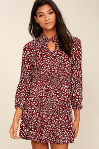 Jack by BB Dakota Jamila Wine Red Print Dress