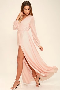 Wondrous Water Lilies Blush Pink Maxi Dress