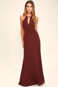 Beauty and Grace Burgundy Maxi Dress