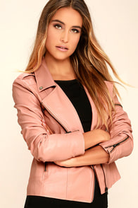 Mink Pink Deputy Pink Vegan Leather Moto Jacket