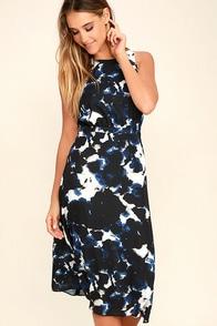 Olive Amp Oak Dress Black And Blue Print Dress Midi