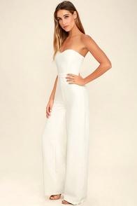 Pop Life White Strapless Jumpsuit