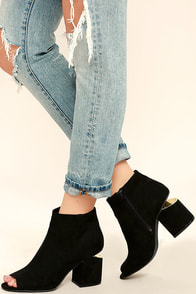Sweet Slice Black Suede Peep-Toe Ankle Booties