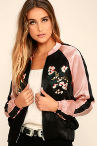 Girl Squad Pink and Black Embroidered Satin Bomber Jacket