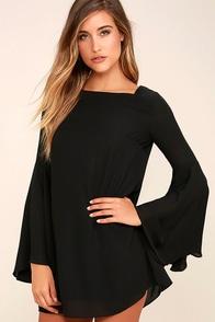 Let Me Count the Ways Black Shift Dress