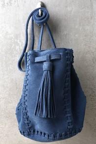 Howdy Partner Blue Leather Drawstring Purse