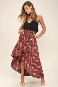 Lucy Love Caravan Washed Red Print High-Low Skirt