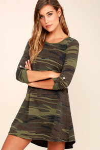 Symphony Army Green Camo Print Swing Dress