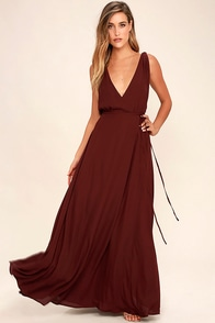 Strictly Ballroom Burgundy Maxi Dress