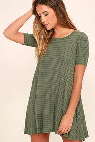 Billabong Lost Heart Sage Green Striped Dress