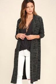 c39cda5720 Amuse Society Aura Black and Grey Long Cardigan Sweater