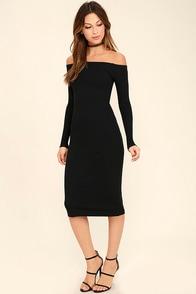 Billabong Help Myself Washed Black Off-the-Shoulder Midi Dress