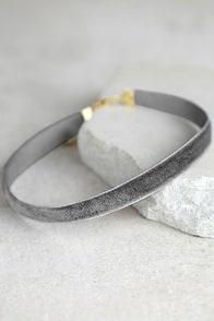 Stronger Grey Velvet Choker Necklace
