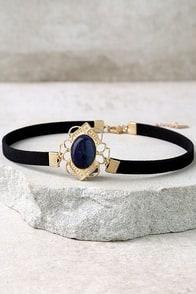 Elizabethan Blue and Black Choker Necklace