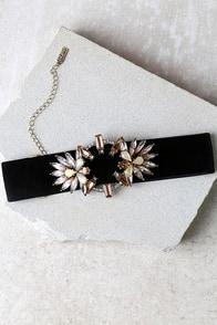 Fantasyland Black and Beige Rhinestone Choker Necklace