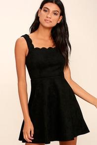 Atta Twirl Black Suede Skater Dress