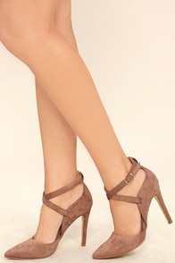 Important Invitee Taupe Suede Heels