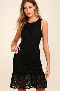 With You Tonight Black Lace Dress