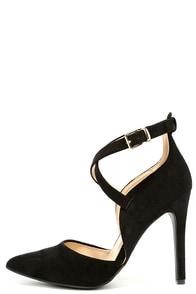 Important Invitee Black Suede Heels Image