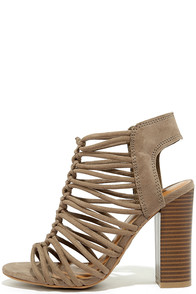 So You Taupe Suede Caged Heels