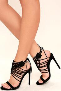 Weaving Tales Black Nubuck Caged Heels