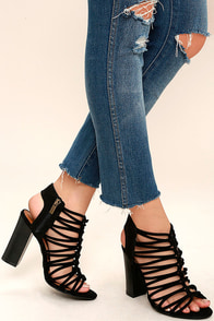 So You Black Suede Caged Heels