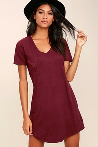 Modern Design Burgundy Suede Shirt Dress at Lulus.com!