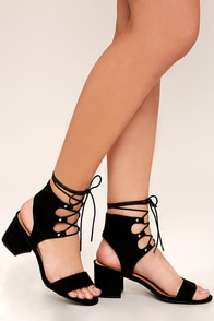 Certified Sass Black Suede Lace-Up Heels Image