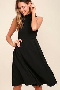Make Your Pointe Black Midi Dress