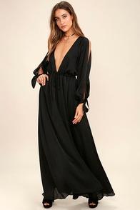 Owning It Black Satin Maxi Dress
