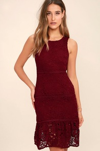 With You Tonight Burgundy Lace Dress