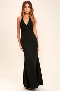 Love Potion Black Lace Halter Maxi Dress