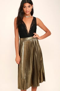 Eclipse of the Heart Gold Midi Skirt