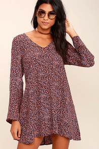 Lucy Love Moon Child Burgundy Floral Print Dress