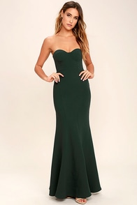 For Infinity Forest Green Strapless Maxi Dress