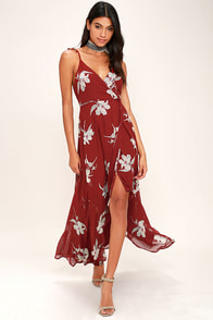 All Mine Wine Red Floral Print High-Low Wrap Dress