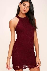 sexy wine red dress sleeveless dress scalloped dress