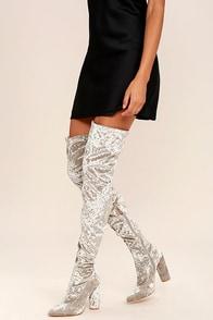 Julia Grey Velvet Thigh High Boots