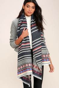Cold Front Navy Blue Print Scarf