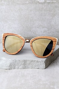 Woodzee Lexi Dark Gold Mirrored Pear Wood Sunglasses